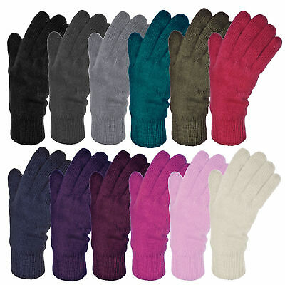 Ladies Warm Knitted Thermal Thinsulate Lined Gloves in wide choice of colours