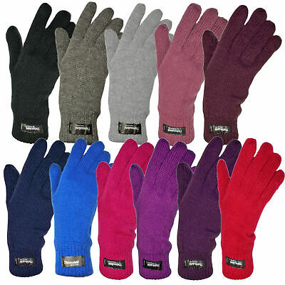 Ladies Womens Warm Knitted Thermal Thinsulate Lined Soft Plain Winter Gloves