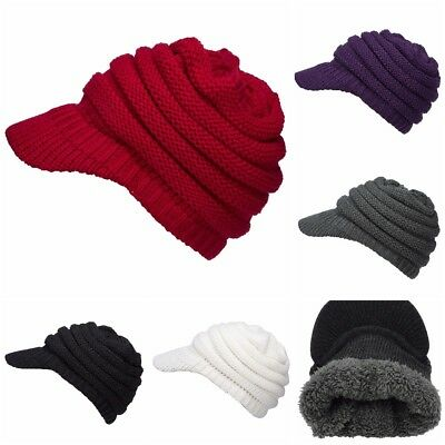 2f11c1f0db7 Woman Man Chunky Cable Knit Visor Brim Winter Hat Beanie Thick Lined Warm  Hat
