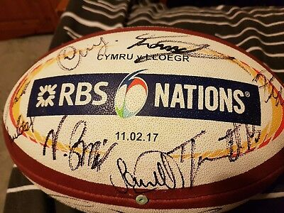 Used MATCH BALL from Wales v England 2017 signed by full Welsh squad