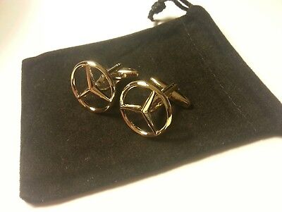 Mercedes Benz cufflinks 24ct gold plated AMG A B C E class quality gift bag new
