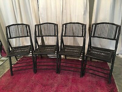 bamboo rattan folding chairs black set of four antique mid-century