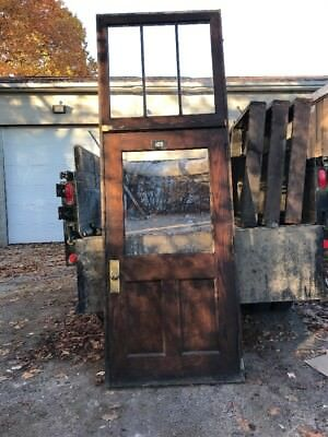 H0105 antique oak entrance door with jam and transom 44.5 x 10'7 X 5 1/2 thick