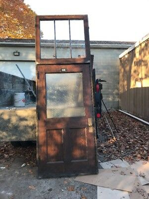 HO106 antique oak entrance door chicken wire glass 44.5 X 10'7""