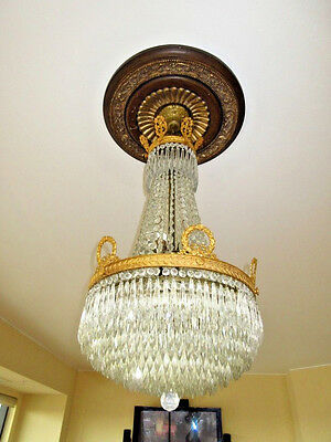 Crystal Gilt Empire Chandelier Small Version Winston Churchill Waldorf Astoria