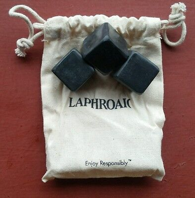 Whisky Rocks w/ Bag Laphroaig Scotch Whiskey branded Whiskey Stones