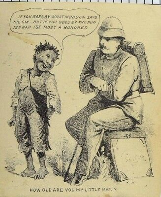 1880's-1890's Black Americana, Child and Soldier Victorian Trade Card P49