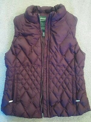 Eddie Bauer Quilted Puffer Vest purple eggplant, Goose Down Filled Women's, M