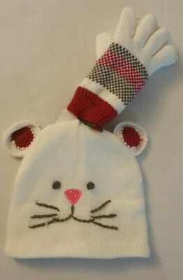 Toddler Girls Warm Lined Critter White Hat And Matching Gloves NWT