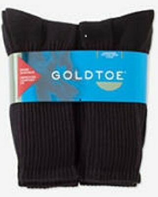 Gold Toe Men's Cotton Cushioned Crew Socks Black 6 Pair New in Package