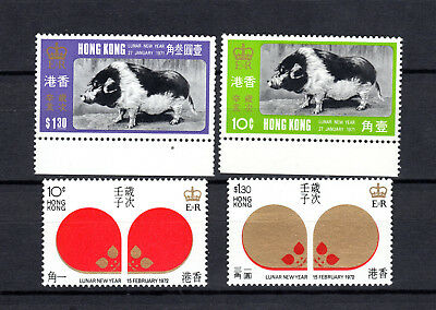 Hong Kong China 1971-1972 New Years Pig & Mouse 2 X Full Sets Of Mnh Stamps Un/m
