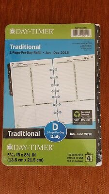 2018 Day-Timer refill 1-page-per-day Size 4 Fits 3- & 7- ring binders