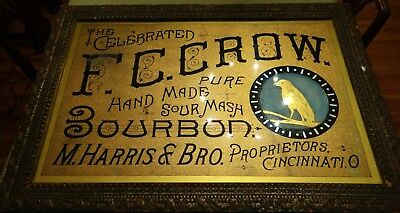 c1880s F C Crow Bourbon Whiskey M Harris & Bro Cincinnati OH Glass Saloon Sign