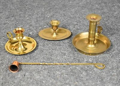 Lot of 3 Vintage Brass Candle Holders