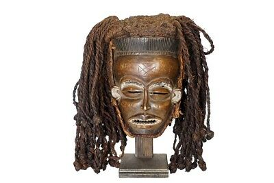 "Chokwe Pwo Mask 15"" with Hair - DR Congo/Angola"