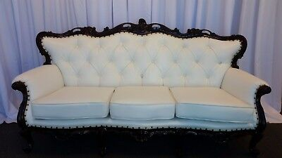 Antique Victorian Sofa - new White faux Leather and Stained Walnut Trim