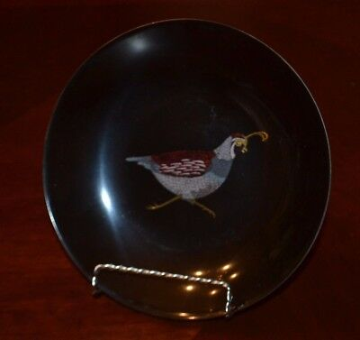 Couroc Pheasant Shallow Bowl, 7 3/4 In, Hand Inlaid