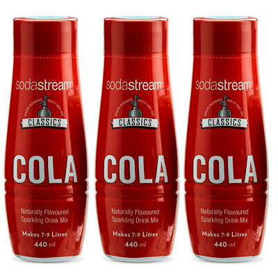 3x SodaStream Classics Cola 440ml/Sparkling Soda Water Syrup Drink Mix/Makes 9L