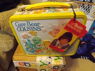 Vintage 1985 Metal Care Bear Cousins Lunxhbox Thermos MINT WITH TAGS! Clean