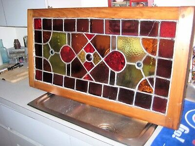 "Antique Leaded Stained Glass Window with 50+ Panes 34"" x 18"""