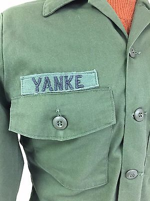 Nice Vintage U S Army Shirt Yankee AIRBORNE Size Medium Green Long Sleeve Patch
