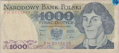 (N9-74) 1982 Poland 1000 ZLOTYCH bank note (I)