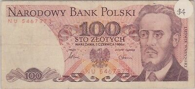 (N9-68) 1986 Poland 100 ZLOTYCH bank note (C)