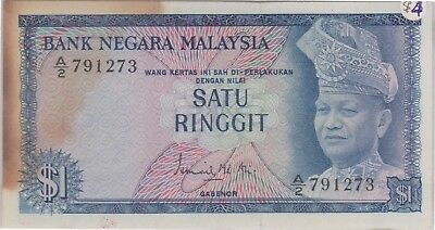 (N9-42) 1972 Malaysia 1 Ringgit Bank note (D)