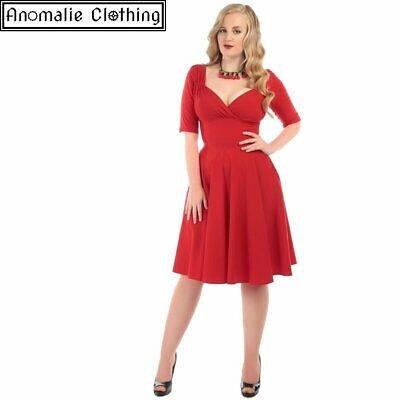 Collectif Trixie Doll Dress in Red - 1940s 1950s Retro Rockabilly Pinup Formal
