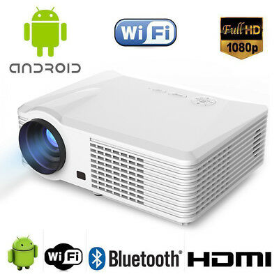 1080P 5000 Lumen Home Theater Multimedia Android TV HDMI USB LCD LED Projector