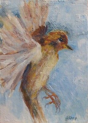 Freedom-His Eye is on the Sparrow. Original Painting, art, bird in flight