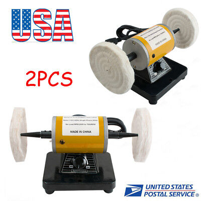 2*Polisher Polishing Machine Dental Lab Lathe Bench Buffing Grinder Tool USA
