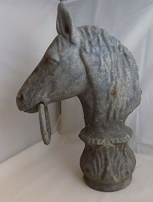 "Vintage Cast Horse Head /w Hexagon Ring Hitching Post Top 15"" Tall Western"