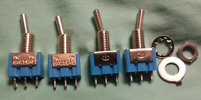MicroMini Toggle Switch(4) 6A 125V AC SPDT 3Pin 2 Position On-On. Ship from W.V