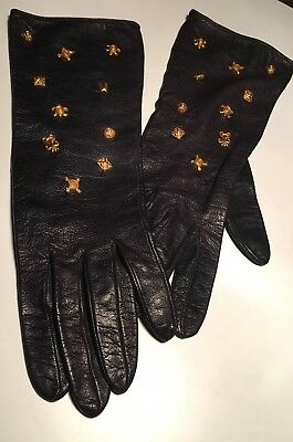 Vintage Rare Dominique Aurientis Leather Gloves With Gold Studs