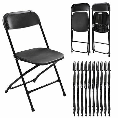 Set of 10 Plastic Folding Chairs Stackable Wedding Party Event Commercial Black
