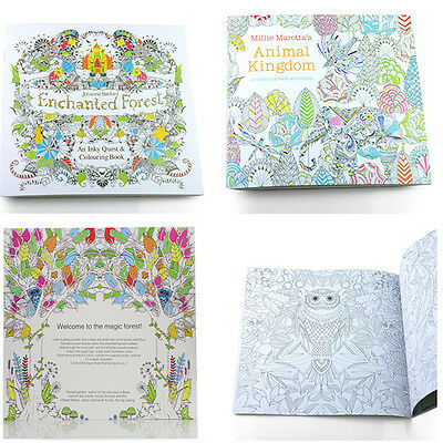 Colouring Book Large Anti Stress Art Therapy Relaxing Enchanted Forest Craft