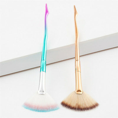 Fantastic Fan Shaped Makeup Brush with Rainbow Matte Cone Handle for Highlight