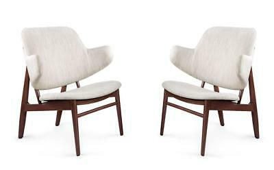 Bungalow 5 Elba Traditional Mid-Century Lacquered Mahogany Lounge Chair Set of 2