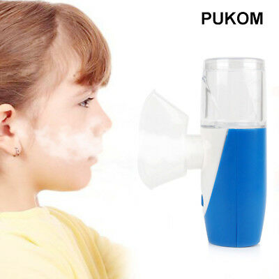 PUKOM Mini Portable Ultrasonic Nebulizer Humidifier USB Rechargeable Mesh Blue