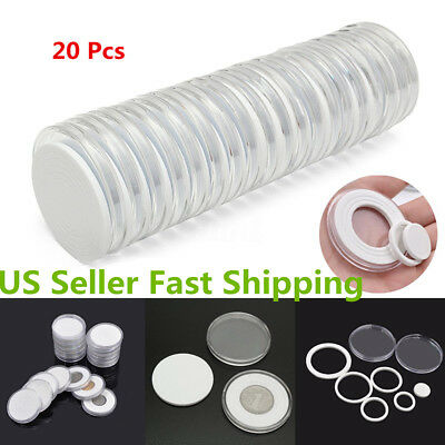 20pcs Round Clear Coin Capsules Holder Storage Case Container Display Boxes 46mm