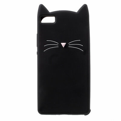 3D Moustache Cat Silicone Cover Case for Huawei P8 Lite 2015 - Black/White/Pink