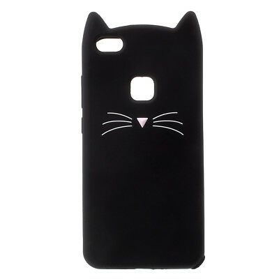 Cute 3D Moustache Cat Silicone Case Cover for Huawei P10 Lite - Black/White/Pink