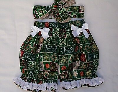 Beautiful Christmas Xmas Print Baby's Bloomer and headwrap set girls clothes New