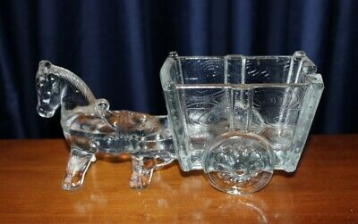 Large Collectable Vintage Art Glass Horse And Cart Circa 1940'S