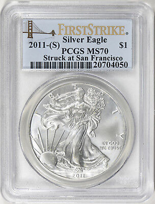 2011-S Silver American Eagle - PCGS MS -70 - Struck at San Francisco Label