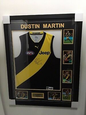 Dustin Martin Richmond Tigers Hand Signed Framed Afl Football Jumper Coa