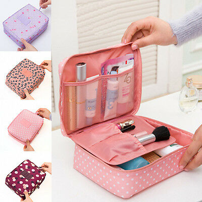 Women Portable Travel Makeup Toiletry Case Pouch Flower Organizer Cosmetic Bag