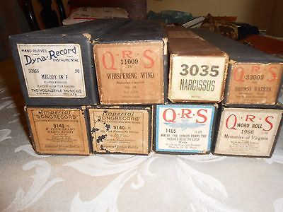 VINTAGE PLAYER PIANO Music ROLLS--Lot of 8--Good to Very Good