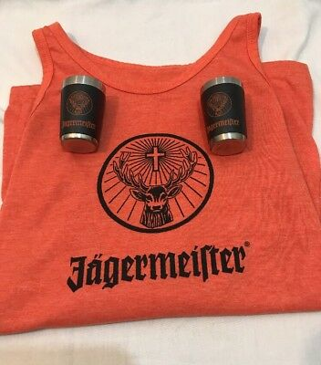 Women's Jagermeister Tank Top With 2 Metal Shot Glasses Size Small